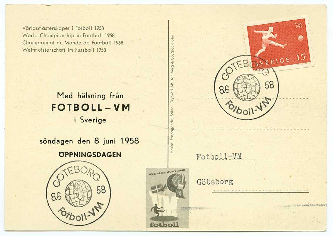 VM i fotboll 1958 (fotboll-vm58-6-580608). Öppningsdagen den 8 juni 1958  spelades åtta matcher. Alla 16 lagen gick därmed samtidigt in i turneringen. 75f9f38b8fc7f